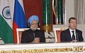 The Prime Minister, Dr. Manmohan Singh and the President of the Russian Federation, Mr. Dmitry Anatolyevich Medvedev at the Joint Press Conference, in Moscow, Russia on December 07, 2009.jpg