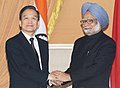 The Prime Minister, Dr. Manmohan Singh with the Chinese Premier, Mr. Wen Jiabao, at the signing ceremony, in New Delhi on December 16, 2010.jpg