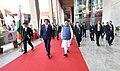 The Prime Minister, Shri Narendra Modi and the Prime Minister of Japan, Mr. Shinzo Abe arrive at the India-Japan Business Summit venue, in Mahatma Mandir, Gandhinagar, Gujarat on September 14, 2017.jpg