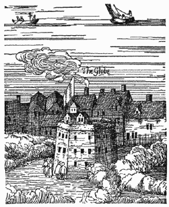 """The Rose (theatre) - The Rose (mislabelled as """"The Globe"""") in the Visscher panorama"""