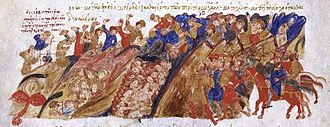 Stefan Vojislav - Serbs massacre the Byzantines in the mountain passes, Madrid Skylitzes.