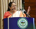 The Speaker, Lok Sabha, Smt. Sumitra Mahajan addressing at the celebration of the 3rd anniversary of Speaker's Research Initiative, at Parliament Annexe, in New Delhi on July 24, 2018.JPG