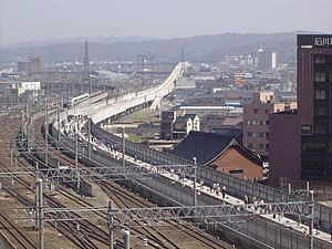 Hokuriku Shinkansen - Construction of the Hokuriku Shinkansen extension near Kanazawa Station in March 2008