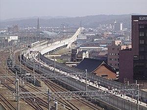 Hokuriku Shinkansen - Construction of the Hokuriku Shinkansen extension near Kanazawa Station in March 2008