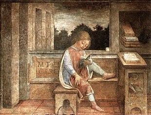 Giovane Cicerone che legge o Fanciullo che legge Cicerone affresco staccato di Vincenzo Foppa (1464 circa), Collezione Wallace di Londra