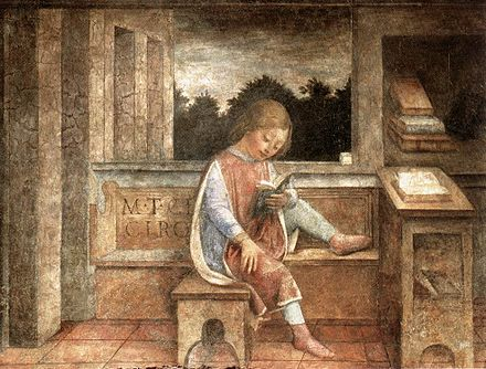 The Young Cicero Reading by Vincenzo Foppa (fresco, 1464), now at the Wallace Collection The Young Cicero Reading.jpg