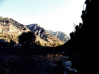The sun rays in the river of pahelgam.JPG