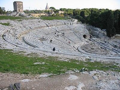Yunanlardan kalma bir amfi-tiyatro, Siracusa - İtalya
