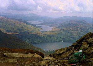 Ben Vane - Lochs Arklet and Katrine seen over Loch Lomond from the summit of Ben Vane