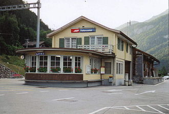 Albula Railway - The RhB station at Tiefencastel