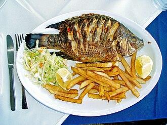 "Matthew 17 - Tilapia zilli (""St. Peter's fish"") - served in a Tiberias restaurant."