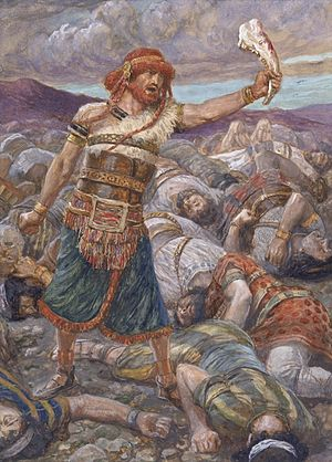 Philistines - Samson slays a thousand men with the jawbone of a donkey (watercolor circa 1896–1902 by James Tissot)