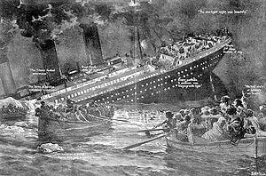 Deutsch: Zeichnung des Untergangs der Titanic ...