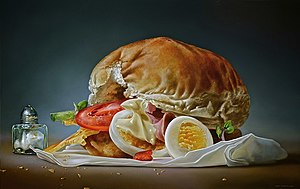 Tjalf Sparnaay - Bread with Ham and Egg, 2014, 95x150 cm