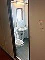 Toilet, hand wash bathroom porcelain basin sink, soap dispenser, etc. in MF Marstein car ferry, Hatvik–Venjaneset, Hordaland, Norway 2018-03-20 C.jpg