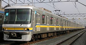 Tokyo Metro 07 series - 07 series set in original Yurakucho Line colour scheme at Kotesashi Depot, February 2007