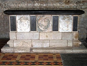 Epiphanius Evesham - Table tomb in memory of Edmund West (d. 1618), All Saints Church at Marsworth. It is one of the few known works of Epiphanius Evesham, whose signature appears on the right hand bottom corner of the panel at the North end.