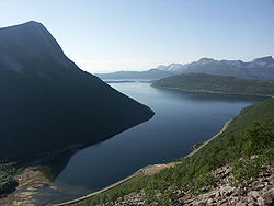 A branch of Tysfjord; the coast is home to innumerable fjords.