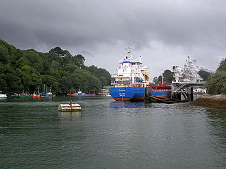 Fowey - Loading china clay at Carne Point