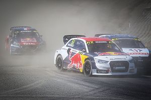 2016 World RX of Norway - Topi Heikkinen being chased by Johan Kristoffersson and Davy Jeanney