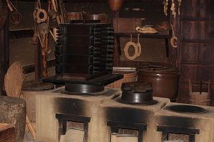 Japanese kitchen - Traditional Japanese kitchen, Boso-no-Mura Museum, Inba-gun, Chiba-ken, Japan