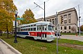 Tram passes in front of the Kenosha County Courthouse and Jail.jpg