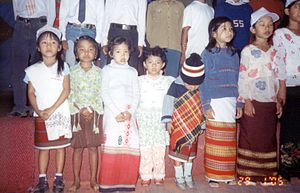 Tripuri people - Tipra children in traditional attire grouping up for song presentation