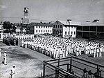 Truman speaking to the 1949 graduation of the Fleet Sonar School Naval Station Key West (8150894217).jpg