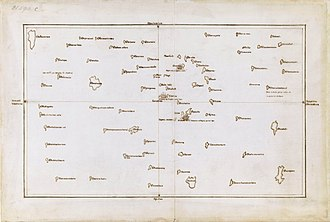 Polynesian navigation - Tupaia's chart of Polynesia within 3200km of Ra'iatea. 1769, preserved in the British Museum.