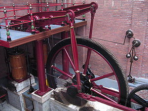 Connecting rod - Beam engine, with twin connecting rods (almost vertical) between the horizontal beam and the flywheel cranks