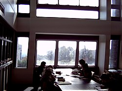 Students studying in the Templeman Library, which offers impressive views of Canterbury and Canterbury Cathedral.