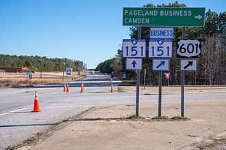 South Carolina Highway 151 - SC 151 bypasses Pageland, while US 601/SC 151 Bus takes right into town