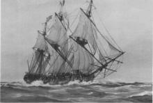 Una fotografía en blanco y negro de una pintura de un barco de tres mástiles, con las velas llenas de viento.