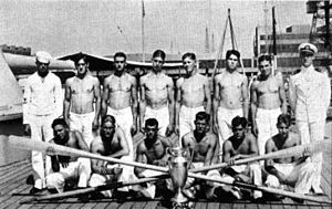 Battenberg Cup - Image: USS Arizona (BB 39) whaleboat crew with Battenberg Cup 1931