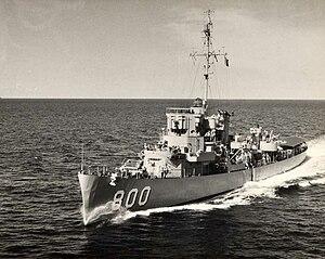 USS Jack W. Wilke (DE-800) underway, circa in the early 1950s