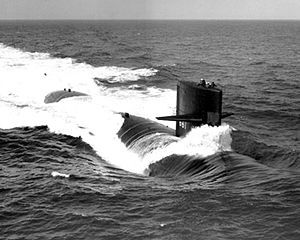 USS Lapon (SSN-661) underway, probably during her sea trials, 1967, off the Virginia coast.