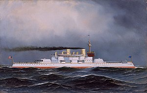 Lewis Nixon (naval architect) - USS Massachusetts (BB-2) (painting by Antonio Jacobsen)