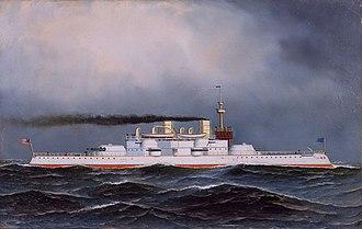 Lewis Nixon (naval architect) - USS Massachusetts (BB-2) (painting by Antonio Jacobsen)
