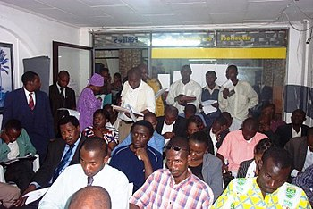 English: Cameroonian journalists at a press co...
