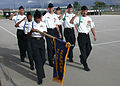 US Navy 031008-N-2893B-002 Naval Junior Reserve Officer Training Corps (NJROTC) cadets from Naples American High School practice marching.jpg