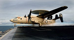 VAW-113 - Image: US Navy 031115 N 6213R 293 An E 2C Hawkeye assigned to the Black Eagles of Carrier Airborne Early Warning Squadron One One Three (VAW 113) launches from one of four steam powered catapults aboard USS John C. Stennis (CVN 74)