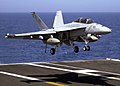US Navy 040801-N-3488C-001 An F-A-18F Super Hornet assigned to Strike Fighter Squadron One Zero Two (VFA-102) prepares for an arrested landing aboard the USS Kitty Hawk (CV 63).jpg