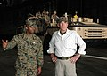 US Navy 050322-N-6776G-001 Gunnery Sgt. Elias Guy speaks with R. Lee Ermey, famed drill sergeant in the movie Full Metal Jacket and current host of the History Channel program Mail Call, in the well deck aboard USS Belleau Woo.jpg