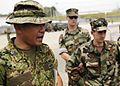 US Navy 060531-N-6074Y-058 Maj. Hamasaki, the highest ranking special forces officer in the Japanese Ground Self-Defense Force (JGSDF) speaks with members of Explosive Ordnance Disposal Mobile Unit Eleven (EODMU-11).jpg
