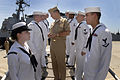US Navy 070501-N-0696M-261 Chief of Naval Operations (CNO) Adm. Mike Mullen visits with side boys after being piped aboard USS Monterey (CG 61) at Naval Station Norfolk.jpg