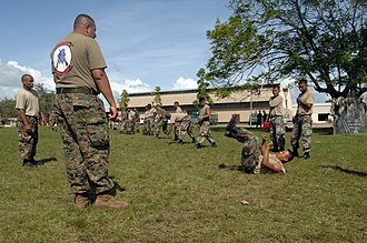Price Barracks - Members of the Belize Defense Force are instructed on controlled falling techniques at Price Barracks