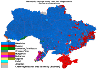 Crimean status referendum, 2014 - Linguistic map of Ukraine according to the 2001 census, with Russian (in red) dominant in Crimea.