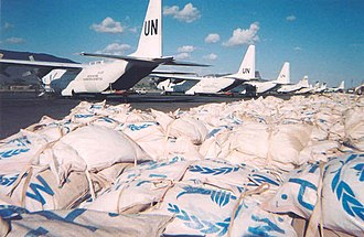 World Food Programme - United Nations C-130 Hercules transports deliver food for the Rumbek region of southern Sudan (2004).