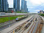 Union Pearson Express, looking west, from Spadina, 2017 05 27 -b (34126144323).jpg