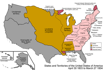 The United States after the Louisiana Purchase in 1803